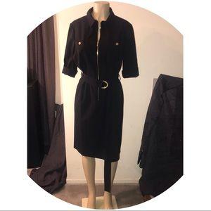 Dressbarn Roz & Ali Black/Gold Belted Zip Up Dress